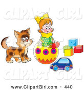 Clip Art of a Smiling Little Girl and Cat Playing with a Toy Car, Ball and Blocks by Alex Bannykh