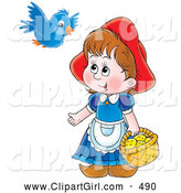 Clip Art of a Smiling Little Red Riding Hood Carrying a Basket of Cookies and Talking to a Blue Bird by Alex Bannykh