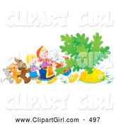 Clip Art of a Smiling Mouse, Cat, Dog, Girl, Woman and Man Trying to Pull a Giant Carrot or Turnip out of the Ground by Alex Bannykh