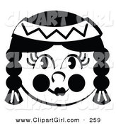 Clip Art of a Smiling Native American Indian Female's Face, Her Hair in Braids, Wearing a Headband by Andy Nortnik