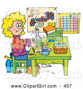 Clip Art of a Smiling School Girl Conducting a Science Experiment in a Lab by Alex Bannykh