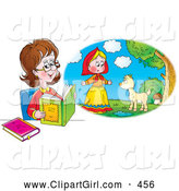 Clip Art of a Smiling Woman Reading a Book and Imagining That She Is in the Story by Alex Bannykh