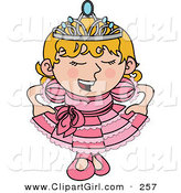Clip Art of a Spoiled Blond White Princess Girl in a Pink Dress and Crown by AtStockIllustration