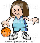 Clip Art of a Sporty White Girl in a Blue Uniform Dribbling a Basketball During Practice by AtStockIllustration