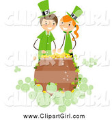 Clip Art of a St Patricks Day Girl and Boy over a Pot of Gold by BNP Design Studio