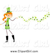 Clip Art of a St Patricks Day Stick Girl and Clovers by BNP Design Studio