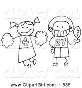 Clip Art of a Stick Cheerleader and Football Player by C Charley-Franzwa