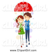 Clip Art of a Stick Couple Sharing an Umbrella by BNP Design Studio