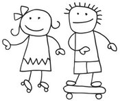 Clip Art of a Stick Figure Boy and Girl Skateboarding and Roller Skating by C Charley-Franzwa