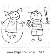 Clip Art of a Stick Figure Girl and Boy Jumping Rope and Playing Baseball by C Charley-Franzwa