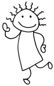 Clip Art of a Stick Figure Person Girl Dancing and Waving by C Charley-Franzwa