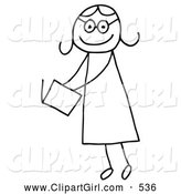 Clip Art of a Stick Figure Person Girl Reading a Book by C Charley-Franzwa