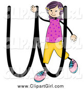 Clip Art of a Stick Girl and Letter W by BNP Design Studio