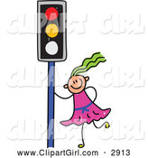 Clip Art of a Stick Girl by a Traffic Light by Prawny