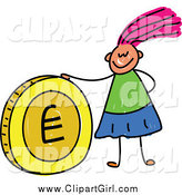 Clip Art of a Stick Girl with a Euro Coin by Prawny