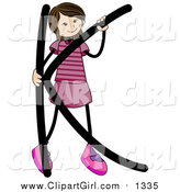 Clip Art of a Stick Girl with an Alphabet Letter K by BNP Design Studio