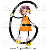Clip Art of a Stick Girl with Letter G by BNP Design Studio