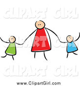 Clip Art of a Stick Mother Holding Hands with Her Children by Prawny