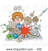 Clip Art of a Surprised School Girl Conducting a Chemistry Experiment While Her Chemicals Explode by Alex Bannykh