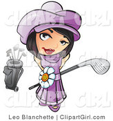 Clip Art of a Sweet and Adorable Short Haired Brunette Girl in a Purple Hat and Dress with a White Daisy Belt, Looking up and Holding a Golf Club by Leo Blanchette