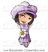 Clip Art of a Sweet and Attractive Short Haired Brunette Girl in a Purple Hat and Dress with a White Daisy Belt by Leo Blanchette