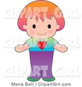 Clip Art of a Sweet and Friendly Red Haired Caucasian Girl Wearing a Tshirt with a Heart on It by Maria Bell
