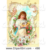 Clip Art of a Sweet Little Victorian Girl Gently Carrying a Calico Kitten in a Hat Through a Rose Garden, Framed by Scrolls and Daisies by OldPixels