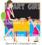 Clip Art of a Sweet Red Haired School Girl Teacher's Pet Standing in Front of Her Female Teacher's Desk in a Classroom, Putting a Red Apple on the Desk by Maria Bell