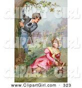 Clip Art of a Sweet Vintage Victorian Scene of a Little Boy Climbing a Tree While Showing off for a Girl As She Picks Flowers in a Garden, Circa 1890 by OldPixels