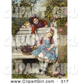 Clip Art of a Sweet Vintage Victorian Scene of Little Boys Flirting and Teasing a Little Girl Asleep on a Garden Bench with a Basket of Fruit, Circa 1850 by OldPixels