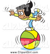 Clip Art of a Talented Hispanic Girl Balancing on a Beach Ball by Johnny Sajem