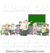 Clip Art of a Teacher and His Elementary Students in Classroom by Djart