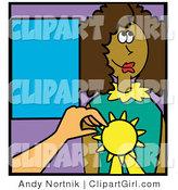 Clip Art of a Teacher Giving a Black Girl an Award for an Educational Feat by Andy Nortnik