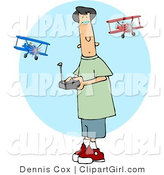 Clip Art of a Teenage Boy Racing a Remote Control Model Airplane by Djart