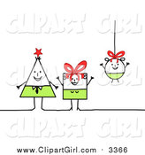 Clip Art of a Triangle, Square and Round Stick Family by NL Shop