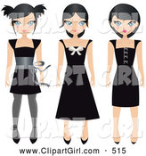 Clip Art of a Trio of Black Haired Teen Girls in Different Styled Black Dresses, on a White Background by Melisende Vector