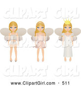 Clip Art of a Trio of Blond Fairy Princesses with Wings, One in Undergarments, One in a Short Dress and One in a Long Gown by Melisende Vector