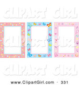 Clip Art of a Trio of Bubble, Butterfly and Feminine Stationery Backgrounds by Alex Bannykh