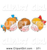 Clip Art of a Trio of Cheerful Children, Two Girls and One Boy, Giggling with Their Eyes Closed by Alex Bannykh