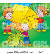 Clip Art of a Trio of Happy Children Setting up Their Camp Site by Alex Bannykh