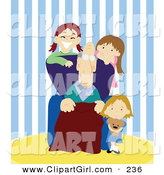 Clip Art of a Trio of Smiling Girls, Grand Children, Spending Time with Their Grandpa by PlatyPlus Art