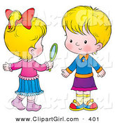 Clip Art of a Two Little Blond Girls in Skirts, One Holding a Hand Mirror by Alex Bannykh