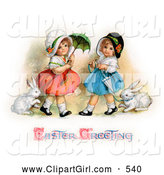 Clip Art of a Two Sisters Walking Their Pet Rabbits on Leashes and Carrying Parasols on Easter by OldPixels