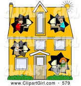Clip Art of a Two Story Home by Djart