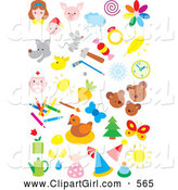 Clip Art of a Various Colorful Icons of People, Animals, Weather, Sports, and Art by Alex Bannykh