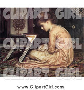 April 21st, 2014: Clip Art of a Vintage Girl Sitting on a Carpet, Reading a Book at a Reading Desk by Frederic Lord Leighton by JVPD