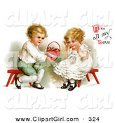 "February 2nd, 2013: Clip Art of a Vintage Victorian Scene of a Sweet Little Blond Boy Sitting on a Red Stool, Holding out a Basket of Candy to a Girl and ""With All My Love"" Text, by Ellen H. Clapsaddle, Circa 1912 by OldPixels"