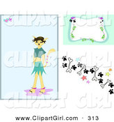 Clip Art of a Website Computer Design Set of Backgrounds of a Morph Cat Girl Background with a Frame and Border Design of Paw Prints, Stars and Bones by