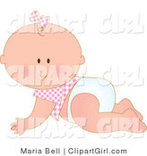 Clip Art of a White Baby Girl in a Pink Checkered Shirt and Bow on Her Hair, Crawling in a Diaper by Maria Bell