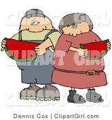Clip Art of a White Boy or Man Eating a Juicy Red Slice of Watermelon with His Sister, Friend or Wife on a Hot Summer Day by Djart